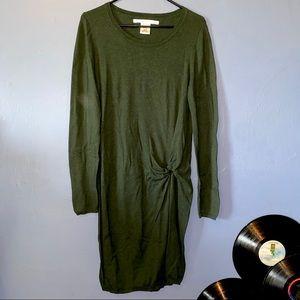 Max Studio Knit Long Sleeve Dress Forest Green